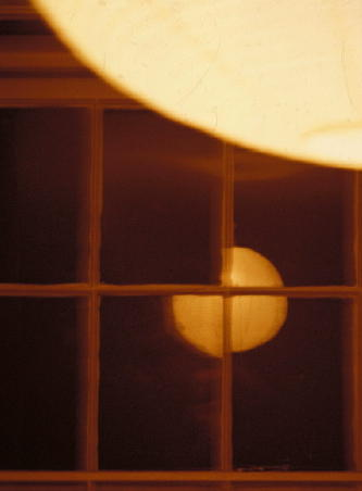 Old window glass and tungsten light with daylight film